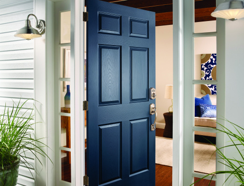 ... on this front door. It is polished off with a Camelot Style Keypad Lock and Handleset in Satin Nickel and accented by modern exterior lighting. & Welcome Your Guests In Style: 5 Front Door Looks You Should Try