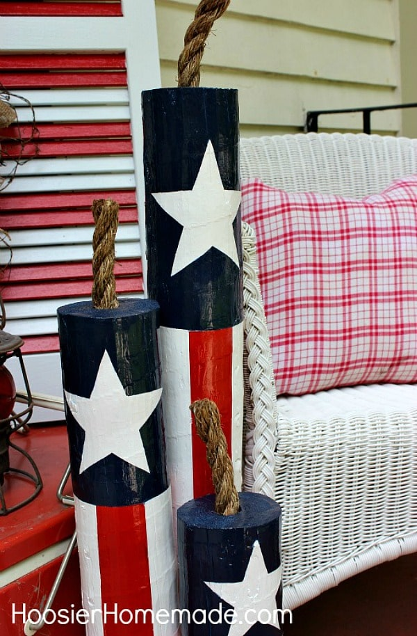 DIY wooden 4th of July firecrackers.