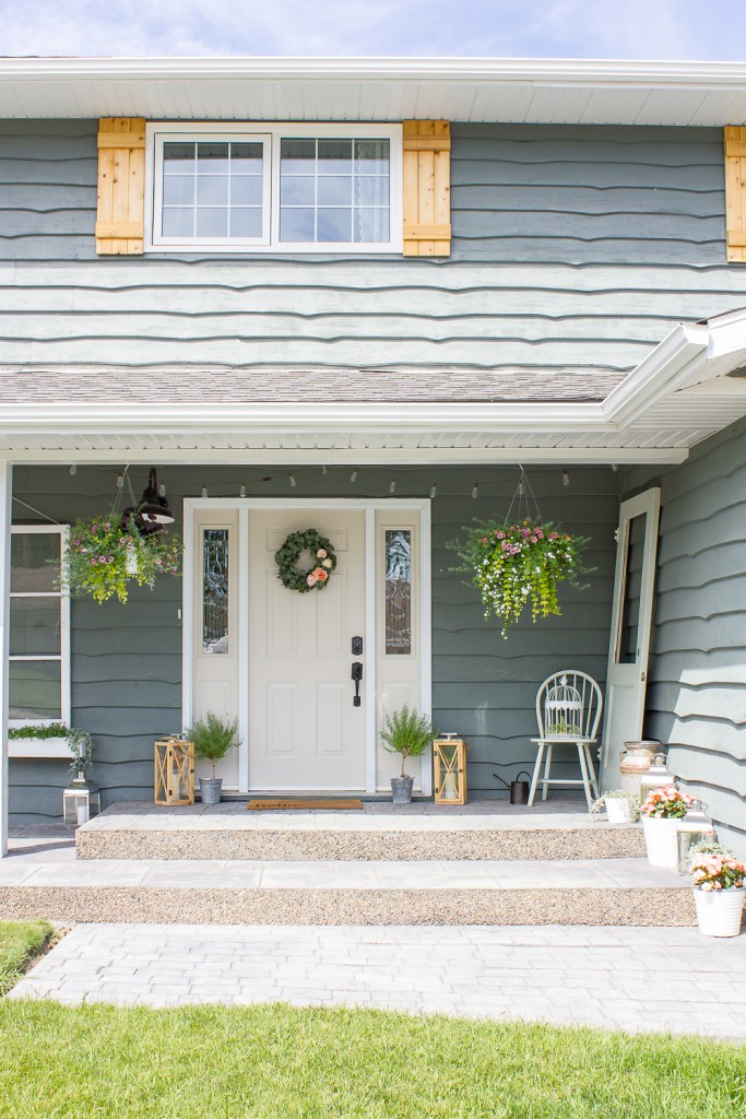 Curb Appeal - Farmhouse front porch - Schlage Touch - Keyless lock