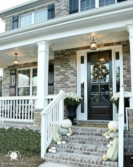 Fall color palettes - Black and white front porch - Schlage
