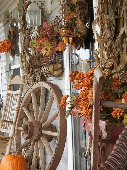 Brown fall decor - Front porch -  Schlage
