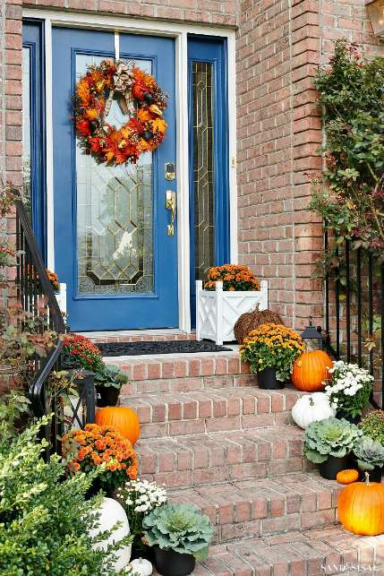 Fall color palettes - Indigo and orange porch decor - Schlage