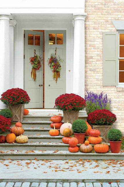 Fall color palettes - Red porch decor - Schlage