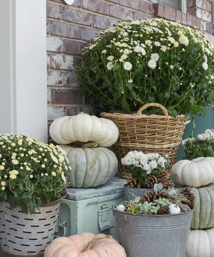 Sage fall decor - Front porch -  Schlage