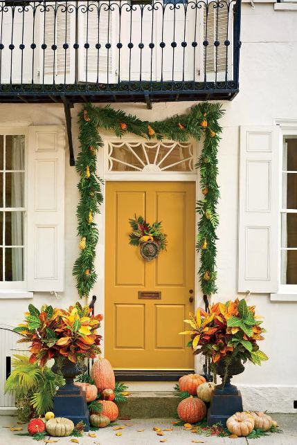 Fall color palettes - Yellow porch decor - Schlage