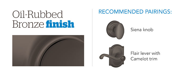 Door hardware - Finishes - Oil-Rubbed Bronze - Schlage