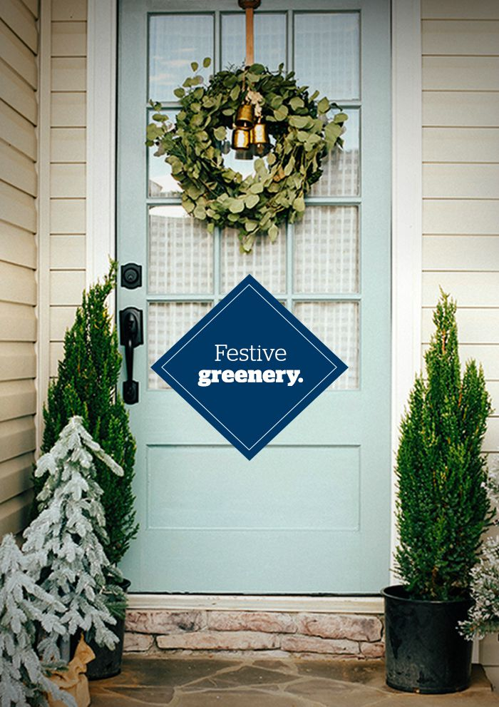Holiday curb appeal - Festive greenery - Schlage