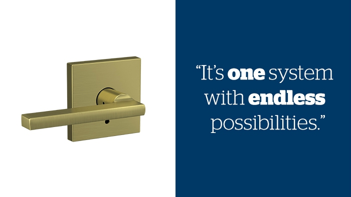 Premium door hardware - Latitude Lever with Collins trim - Satin Brass hardware - Schlage Custom