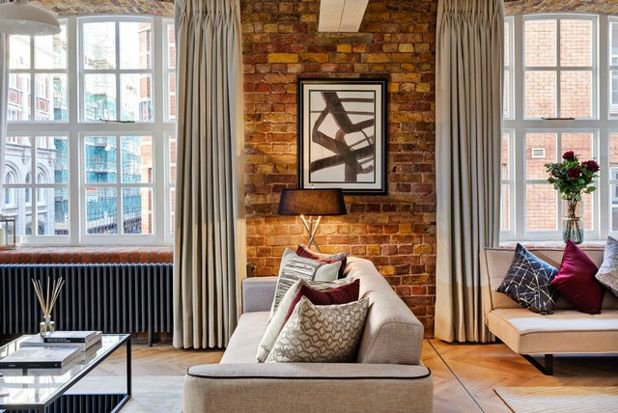 Exposed brick - Contemporary living room