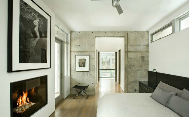 Exposed finishes - Concrete wall - Modern bedroom
