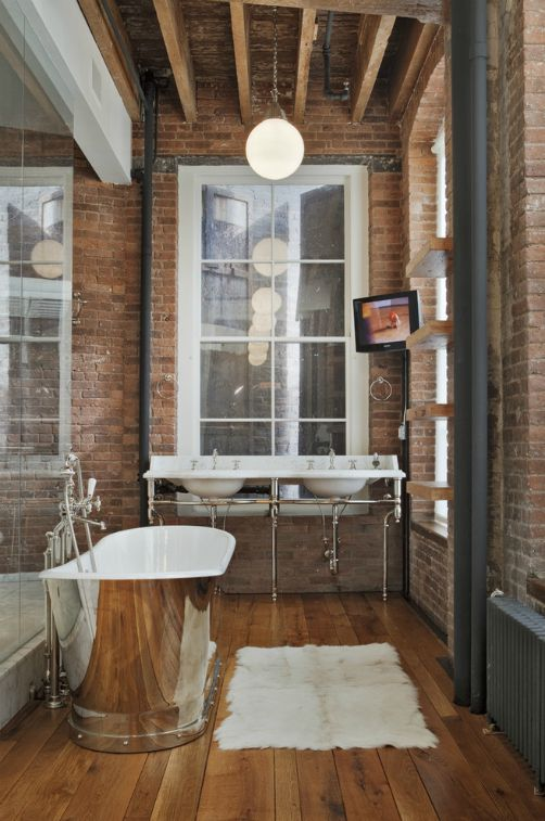 Industrial modern bathroom - Matte Black hardware - Schlage