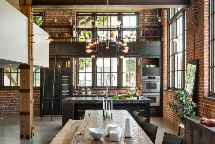 Industrial modern kitchen - Matte black hardware - Schlage