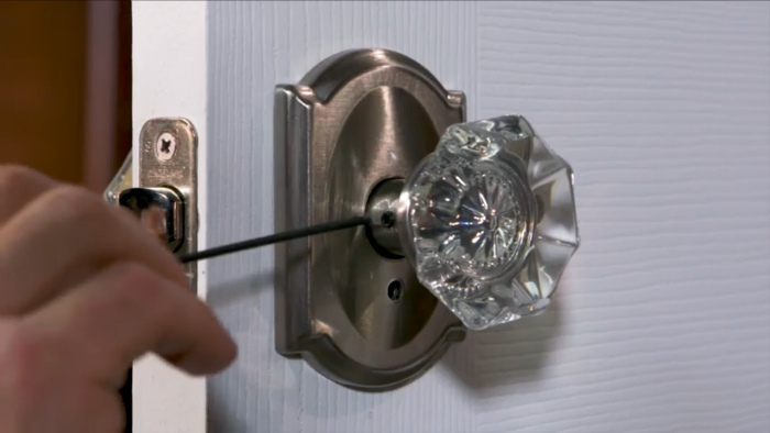 How to install a schlage custom combined interior lock - Installing a lock on a bedroom door ...