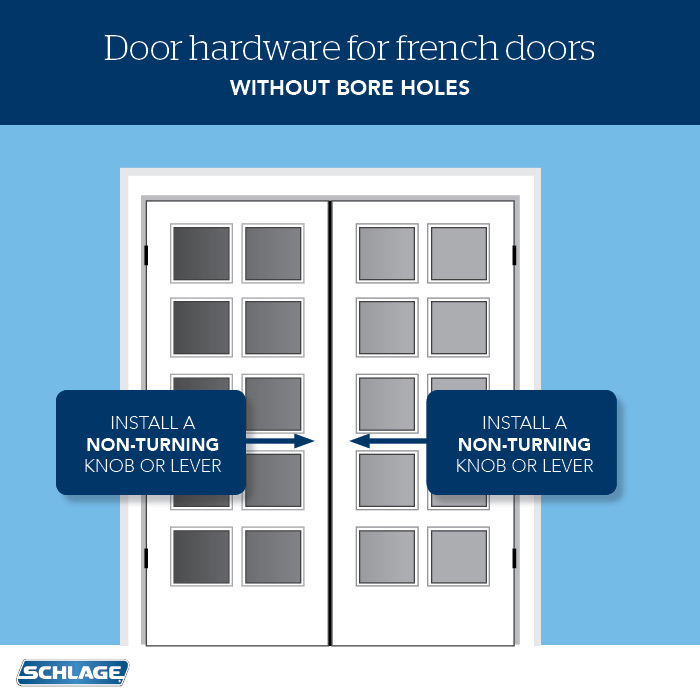 French Doors - Non-turning Door Hardware - Schlage