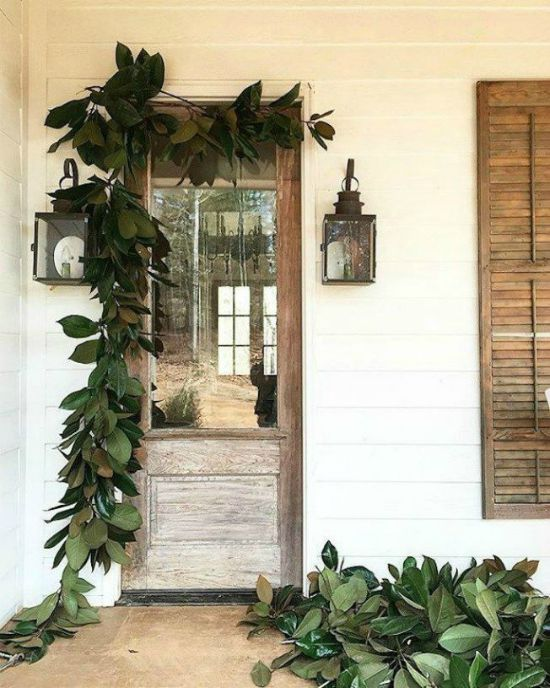 Holiday - Front Door - Magnolia leaf garland