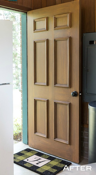 Exterior Door Makeover - Faux wood paint - In My Own Style - Schlage
