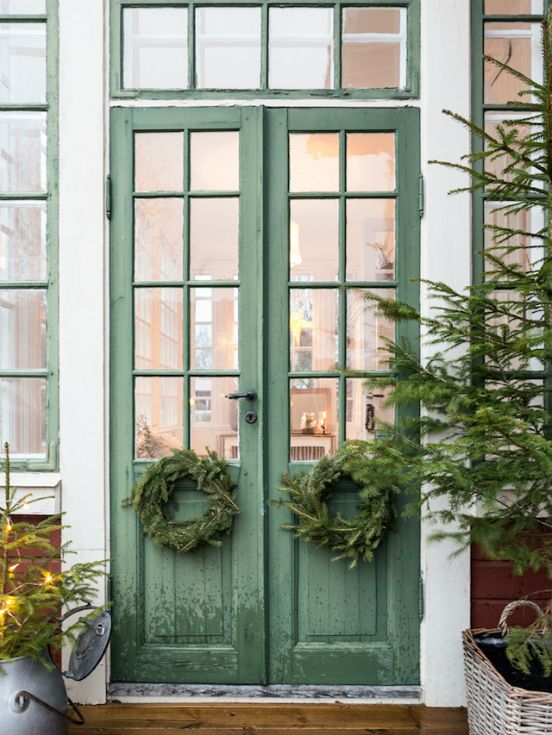 Holiday - French Door - Wreath