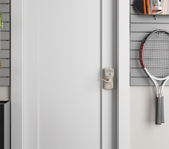 Smart locks on interior garage doors - Schlage