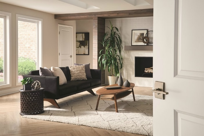 Scandinavian style living room with Schlage door lever