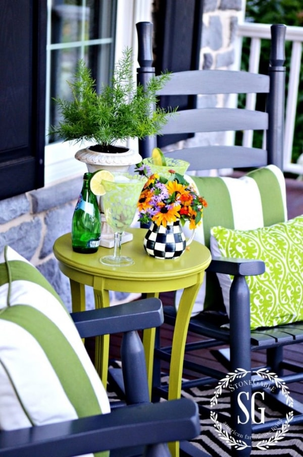 Green front porch decor.