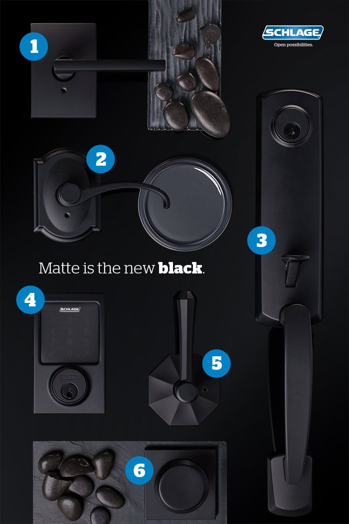 Mood board of Schlage matte black door hardware.