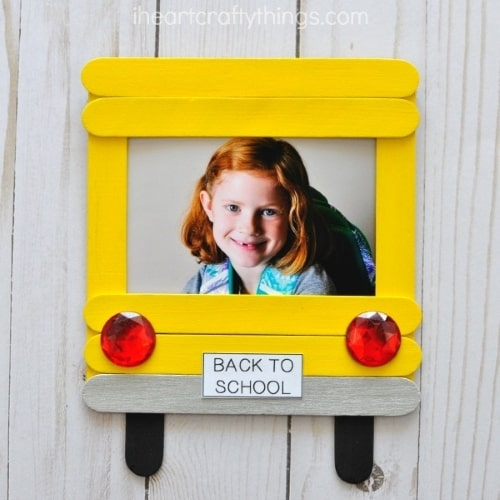 Back to school DIY bus picture frame
