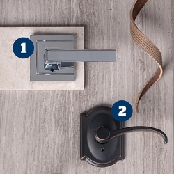 Leverage a look that works with Schlage's most stylish levers.