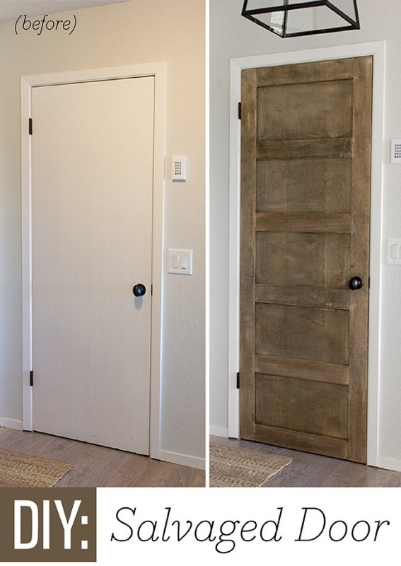 Hollow core door makeover to 5 panel door.