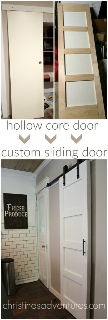 Hollow core door transformed into DIY sliding barn door.