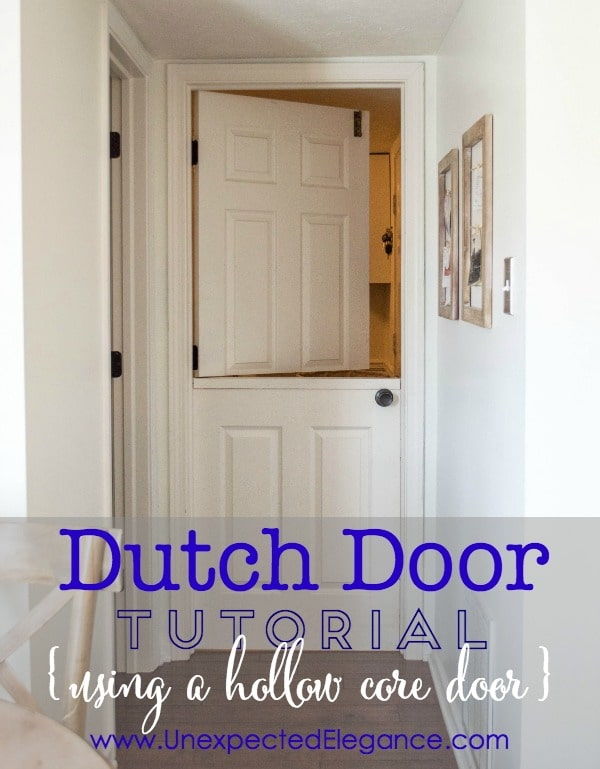 Hollow core door turned into DIY dutch door.