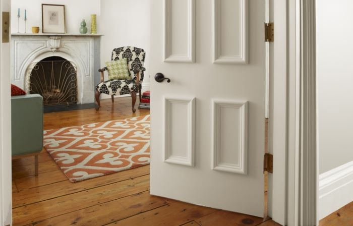 Hollow core door with DIY paneling.