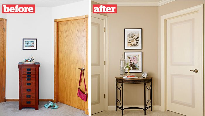 Hollow core door with faux painted panels.