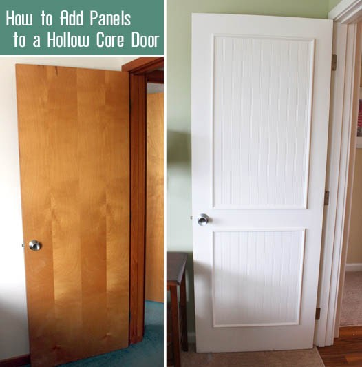 Before and after of hollow core door with beadboard.
