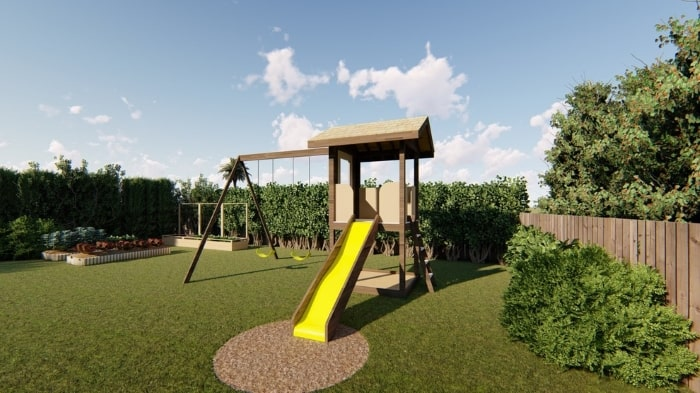 Kid-friendly backyard with stylish landscaping and playground.