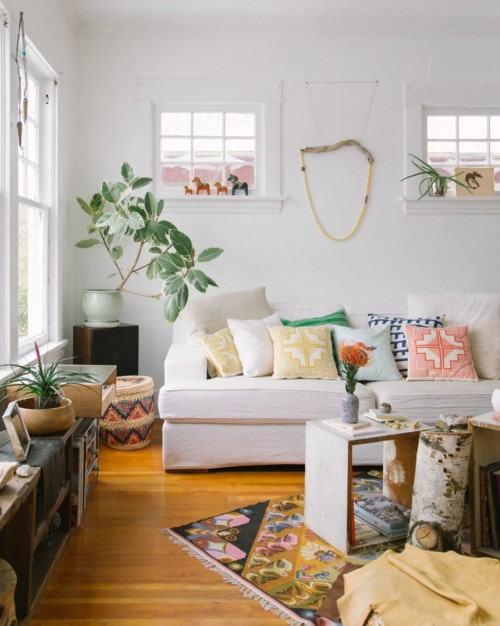 Bright living room with house plants.
