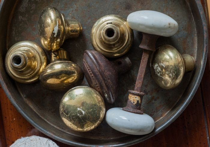 Collection of old door knobs.