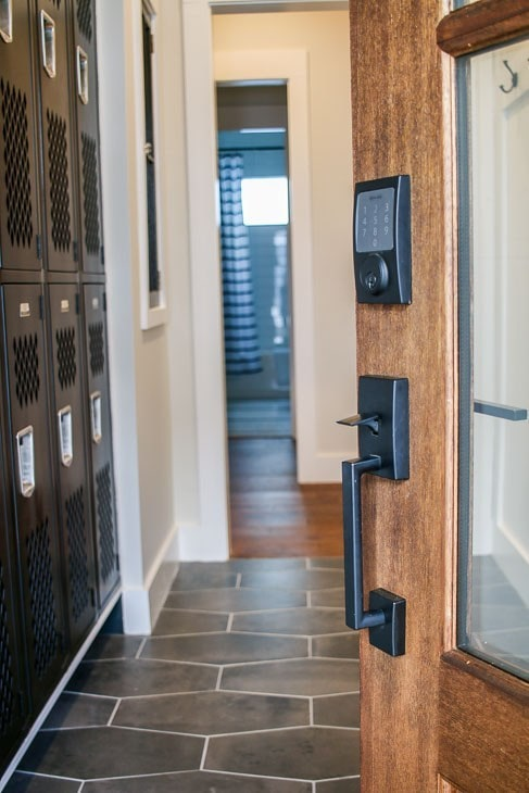 Schlage Sense Smart Deadbolt on mudroom door.