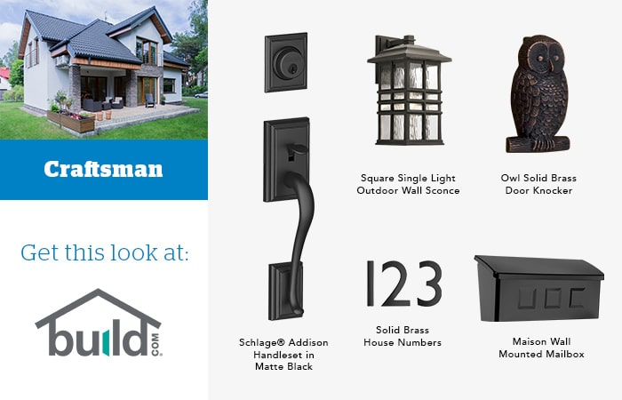 Craftsman door knocker and hardware pairings mood board.