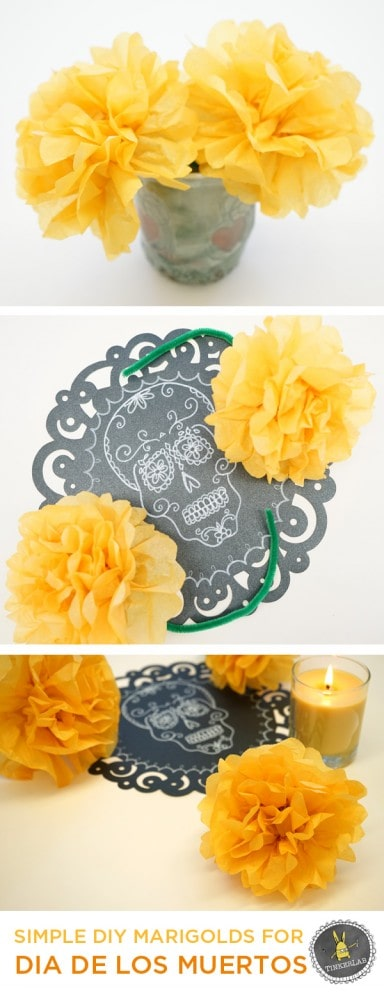 DIY Day of the Dead Marigolds from tissue paper.