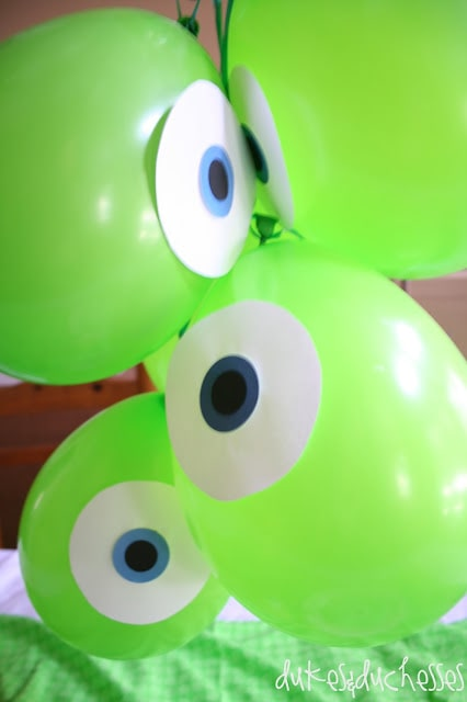 DIY Monster's Inc green balloon one-eyed monsters.