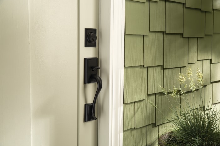 Schlage Addison deadbolt with handleset on front door.