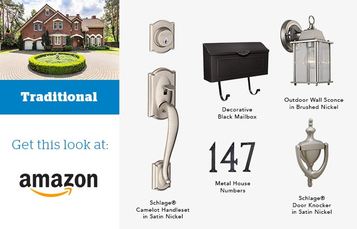 Traditional door knocker and hardware pairings mood board.