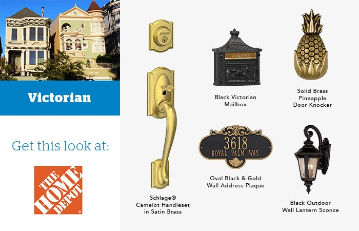 Victorian door knocker and hardware pairings mood board.