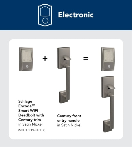 Electronic locks with handle for doors with 3 holes.