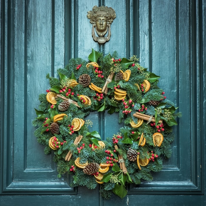 Holiday wreath with citrus and cinnamon