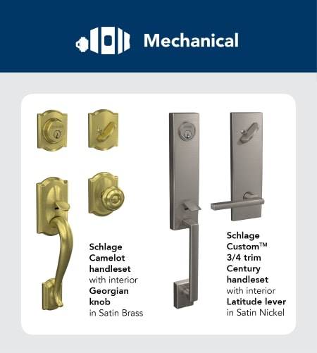 List of mechanical functions for triple bore hole locks.