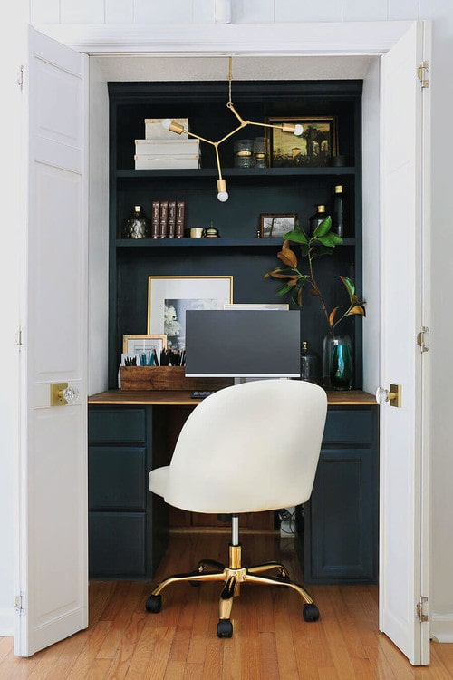Transitional closet office.
