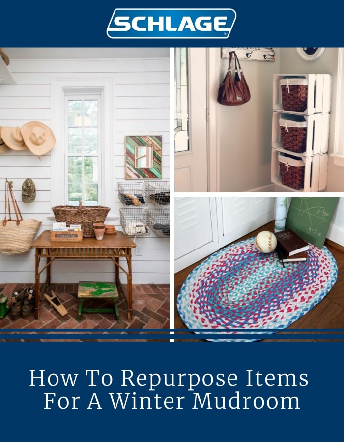 Winter mudroom accessories and items.