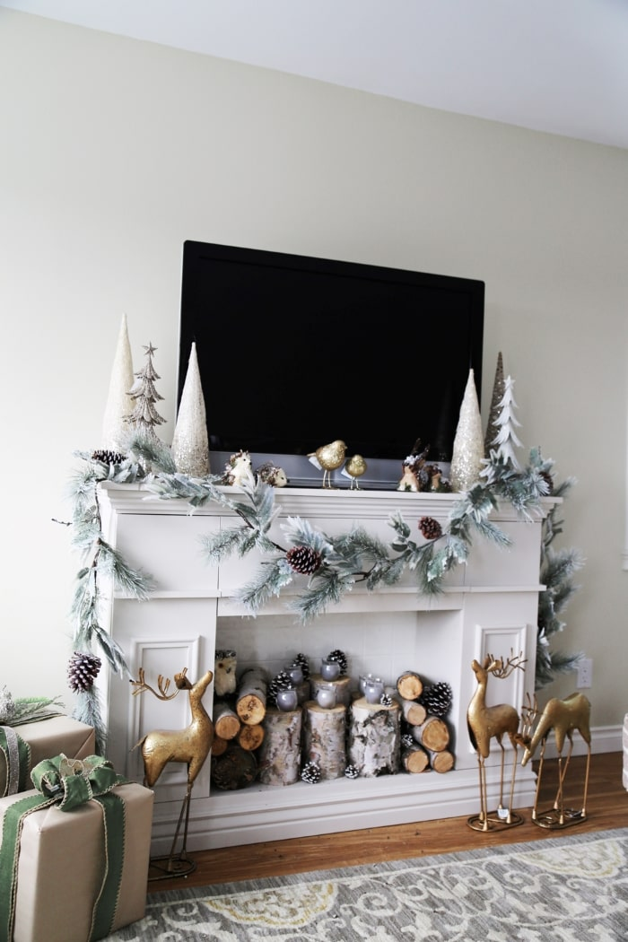 Faux fireplace mantel with hidden storage.