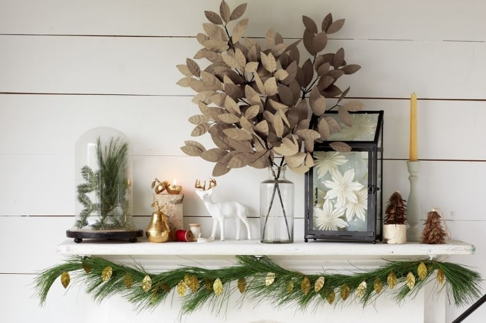 Faux mantelpiece holiday vignette with advent calendar insert.